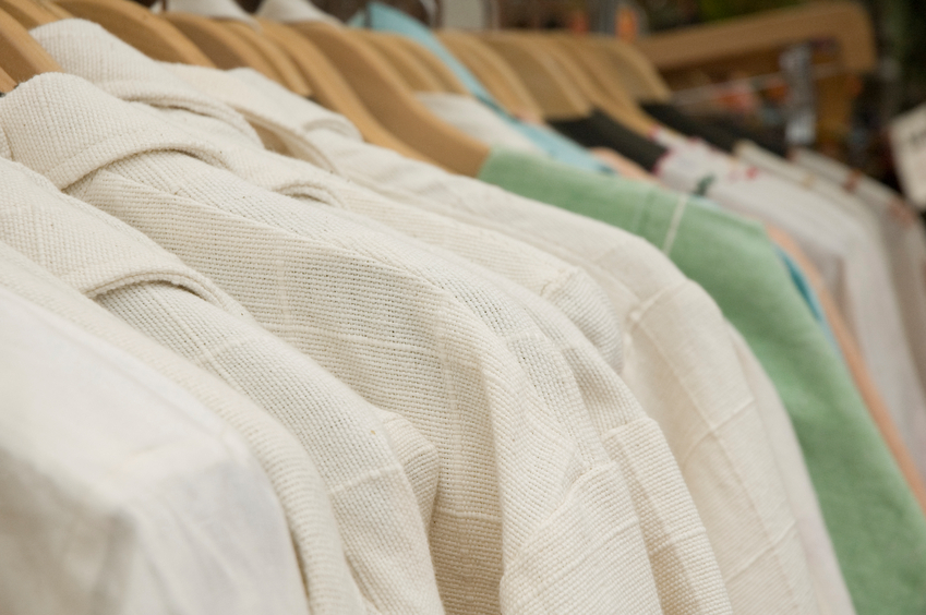 Row of clothes on a rack at a retail store. Nikon D70.
